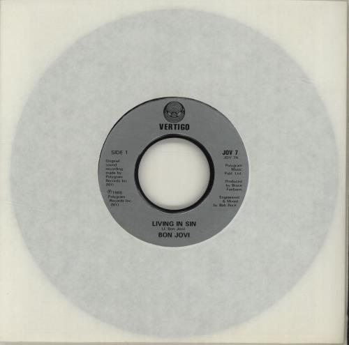 "Bon Jovi Living In Sin - Jukebox 7"" vinyl single (7 inch record) UK BON07LI682117"