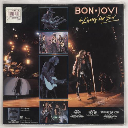 "Bon Jovi Living In Sin - White Vinyl - Stickered 12"" vinyl single (12 inch record / Maxi-single) UK BON12LI738600"