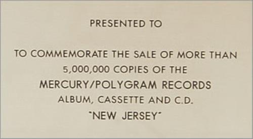 Bon Jovi New Jersey award disc US BONAWNE498928