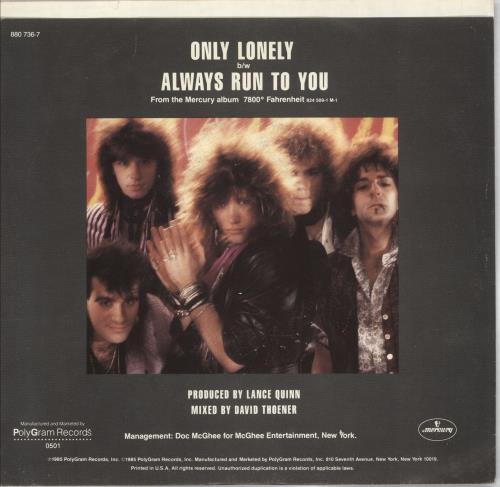 "Bon Jovi Only Lonely 7"" vinyl single (7 inch record) US BON07ON40729"