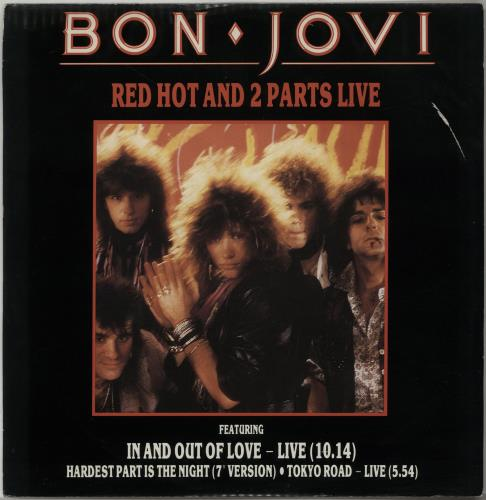 "Bon Jovi Red Hot And 2 Parts Live - Red vinyl - EX 12"" vinyl single (12 inch record / Maxi-single) UK BON12RE603600"