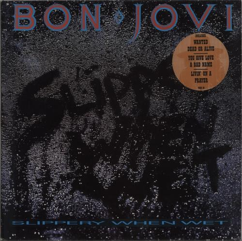 Bon Jovi Slippery When Wet - Stickered vinyl LP album (LP record) UK BONLPSL667746