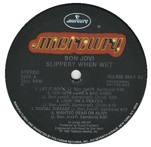 Bon Jovi Slippery When Wet vinyl LP album (LP record) US BONLPSL141304