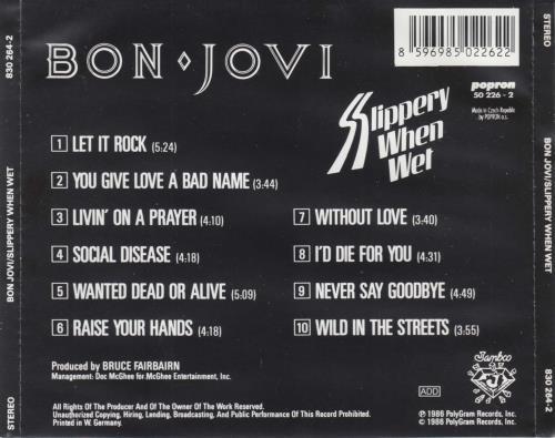 Bon Jovi Slippery When Wet CD album (CDLP) Czech BONCDSL738276