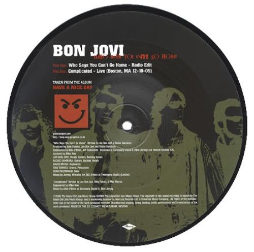 "Bon Jovi Who Says You Can't Go Home 7"" vinyl picture disc 7 inch picture disc single UK BON7PWH360291"