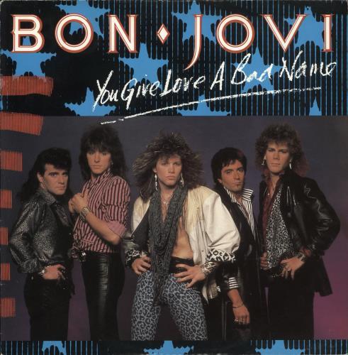 "Bon Jovi You Give Love A Bad Name + Poster 12"" vinyl single (12 inch record / Maxi-single) UK BON12YO712755"