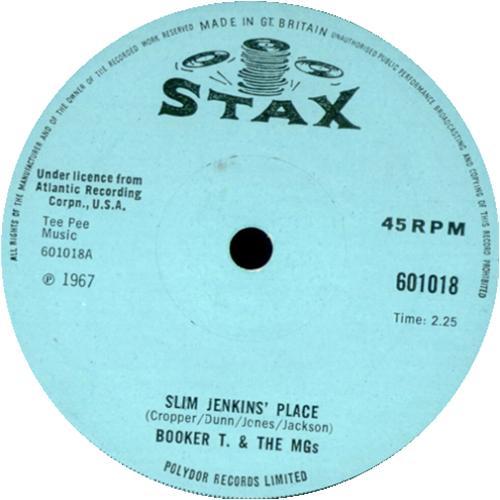 "Booker T. & The M.G.'s Slim Jenkins' Place - Solid 7"" vinyl single (7 inch record) UK BKT07SL414292"