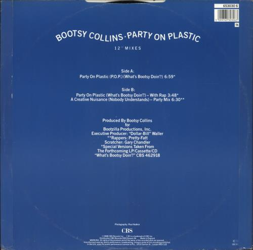 """Bootsy Collins Party On Plastic 12"""" vinyl single (12 inch record / Maxi-single) UK OOY12PA582686"""