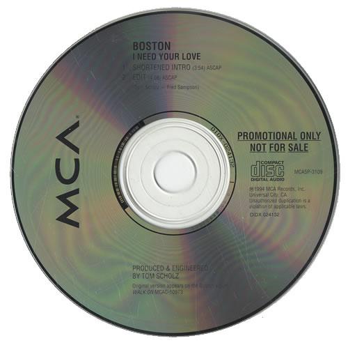 """Boston I Need Your Love - Promo CD single (CD5 / 5"""") US BOSC5IN455147"""