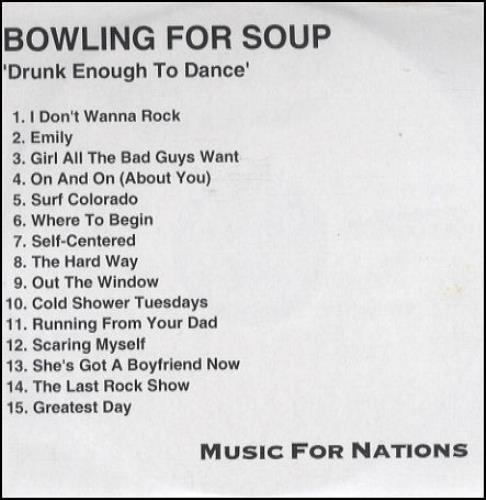 Bowling For Soup Drunk Enough To Dance Uk Cd R Acetate 231758