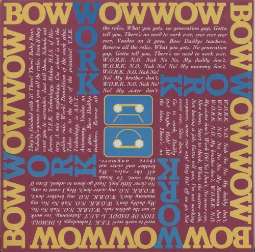 "Bow Wow Wow Work - Pink Sleeve 7"" vinyl single (7 inch record) UK BWW07WO755677"