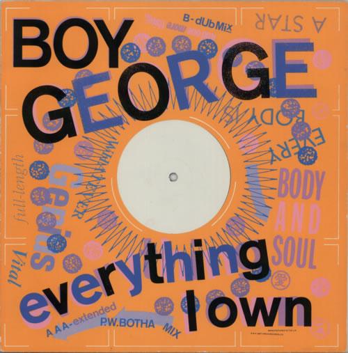"Boy George Everything I Own - P/S 12"" vinyl single (12 inch record / Maxi-single) UK BOY12EV603517"