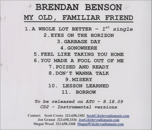 Brendan Benson My Old Familiar Friend 2 CD album set (Double CD) US RNE2CMY483859