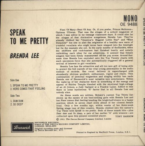 "Brenda Lee Speak To Me Pretty EP - EX 7"" vinyl single (7 inch record) UK B-L07SP712965"