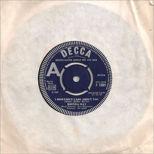 """Brenda May I Shouldn't Care About You 7"""" vinyl single (7 inch record) UK B3M07IS487268"""