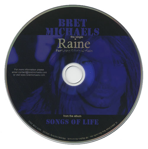 "Bret Michaels Raine CD single (CD5 / 5"") US BEMC5RA244078"
