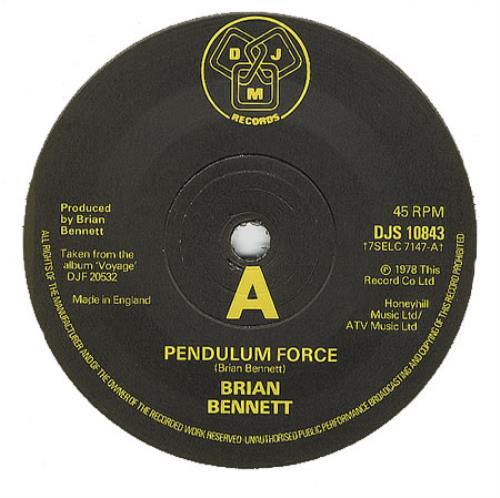 "Brian Bennett Pendulum Force 7"" vinyl single (7 inch record) UK ENN07PE269963"