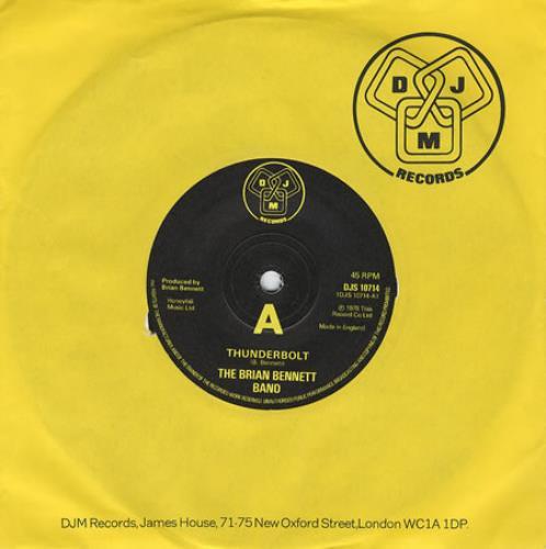 """Brian Bennett Thunderbolt 7"""" vinyl single (7 inch record) UK ENN07TH272915"""