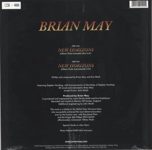 """Brian May New Horizons - RSD19 - Sealed 12"""" vinyl single (12 inch record / Maxi-single) UK MAY12NE718459"""