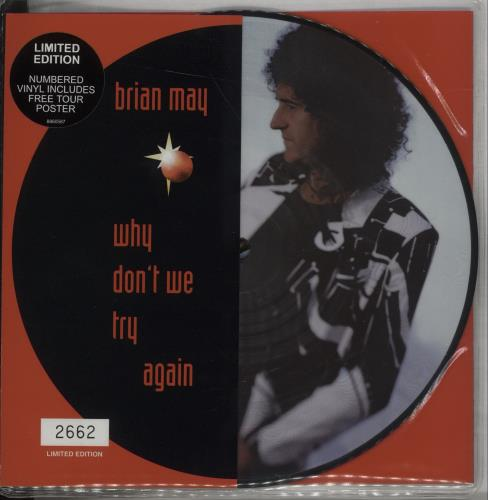 "Brian May Why Don't We Try Again 7"" vinyl picture disc 7 inch picture disc single UK MAY7PWH120945"