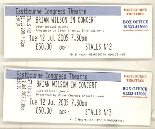 Brian Wilson 2005 Tour + Ticket Stub & Autographed tour programme UK BWITRTO704322