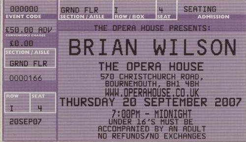 Brian Wilson 2007 Tour + Ticket Stub & Fliers tour programme UK BWITRTO655564
