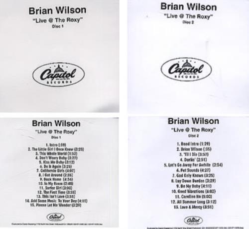 Brian Wilson Live @ The Roxy 2 CD album set (Double CD) US BWI2CLI194413