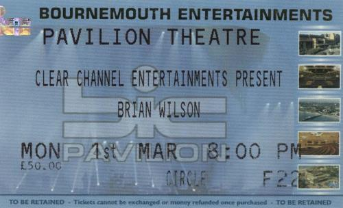 Brian Wilson Smile + Ticket Stub tour programme UK BWITRSM328164