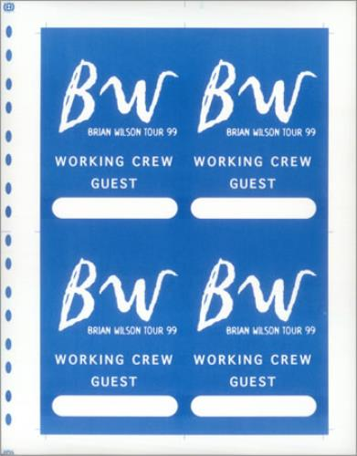 Brian Wilson Tour 99 - Uncut Press Sheet tour pass US BWITPTO427910
