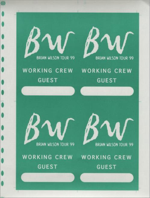 Brian Wilson Tour 99 - Uncut Sheet tour pass US BWITPTO430428