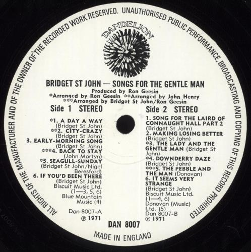 Bridget St John Songs For The Gentle Man vinyl LP album (LP record) UK BSJLPSO145663