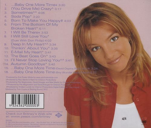 Britney Spears ...Baby One More Time CD album (CDLP) Australian BTPCDBA193205