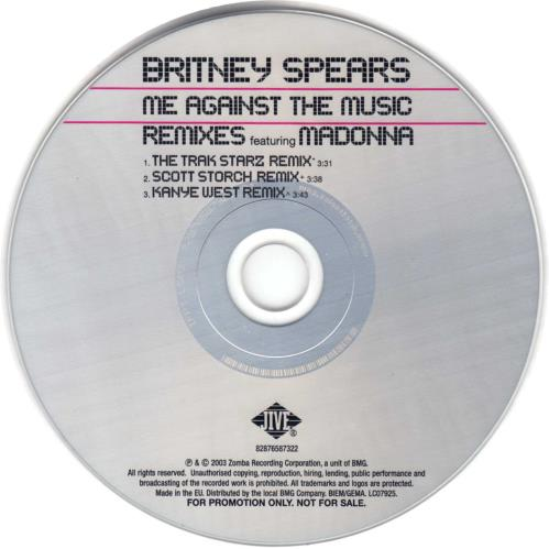 "Britney Spears Me Against The Music - 3-Track CD single (CD5 / 5"") UK BTPC5ME305145"
