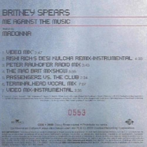 """Britney Spears Me Against The Music CD single (CD5 / 5"""") Mexican BTPC5ME264647"""
