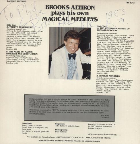 Brooks Aehron Plays His Own Magical Medleys - Autographed vinyl LP album (LP record) UK 0YZLPPL737936