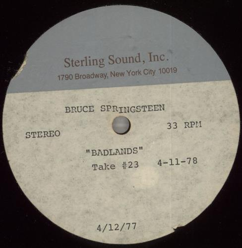 Bruce Springsteen Badlands acetate US SPRATBA715763