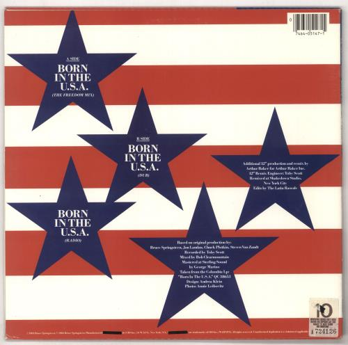 "Bruce Springsteen Born In The U.S.A. 12"" vinyl single (12 inch record / Maxi-single) US SPR12BO64774"