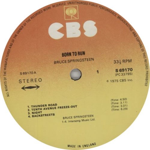 Bruce Springsteen Born To Run - 2nd vinyl LP album (LP record) UK SPRLPBO125457