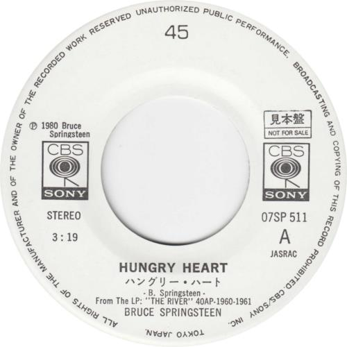 """Bruce Springsteen Hungry Heart - Withdrawn Sleeve 7"""" vinyl single (7 inch record) Japanese SPR07HU603064"""