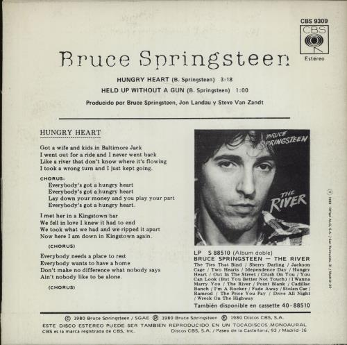 "Bruce Springsteen Hungry Heart 7"" vinyl single (7 inch record) Spanish SPR07HU590602"