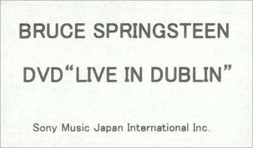 Bruce Springsteen Live In Dublin video (VHS or PAL or NTSC) US SPRVILI501809