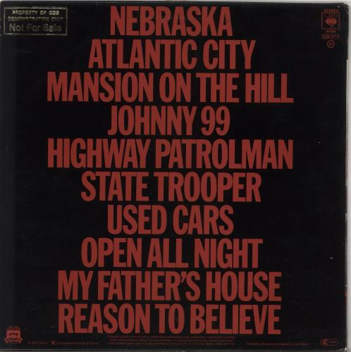 Bruce Springsteen Nebraska - Promo Stamped - EX vinyl LP album (LP record) UK SPRLPNE734481