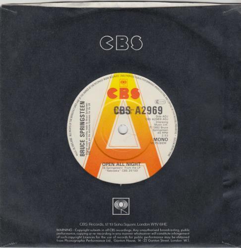 "Bruce Springsteen Open All Night - A Label 7"" vinyl single (7 inch record) UK SPR07OP769091"