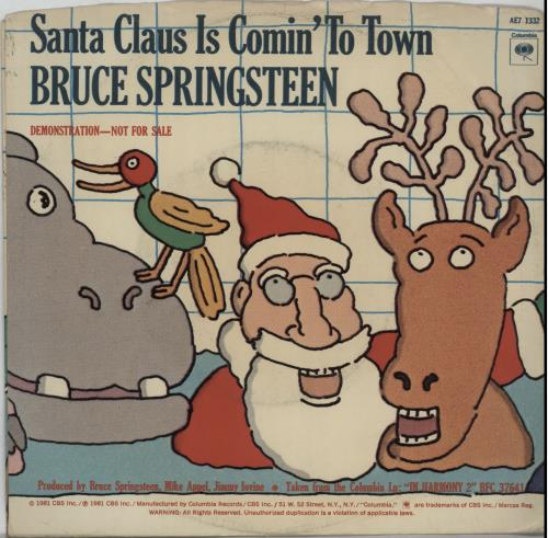 "Bruce Springsteen Santa Claus Is Comin' To Town 7"" vinyl single (7 inch record) US SPR07SA369778"