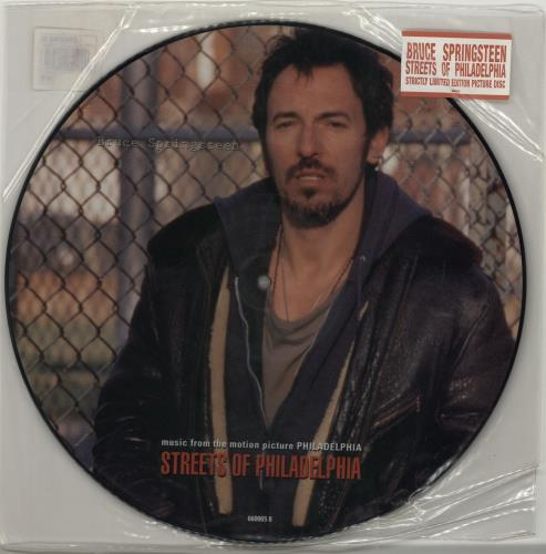 "Bruce Springsteen Streets Of Philadelphia - Stickered 12"" vinyl picture disc 12inch picture disc record UK SPR2PST26733"