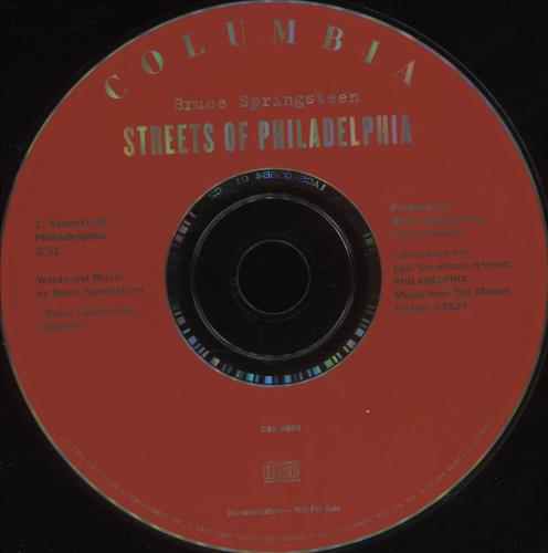 "Bruce Springsteen Streets Of Philadelphia CD single (CD5 / 5"") US SPRC5ST25625"
