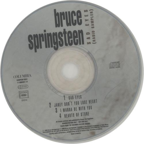 "Bruce Springsteen Tracks Radio Sampler CD single (CD5 / 5"") Austrian SPRC5TR126176"