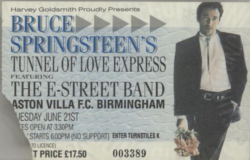 Bruce Springsteen Tunnel Of Love Express Tour - Aston Villa ticket stub tour programme UK SPRTRTU80555