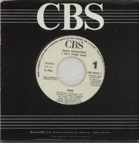 "Bruce Springsteen War 7"" vinyl single (7 inch record) Spanish SPR07WA671852"