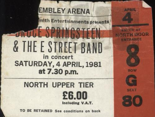 Bruce Springsteen Wembley Arena 1981 concert ticket UK SPRTIWE732026